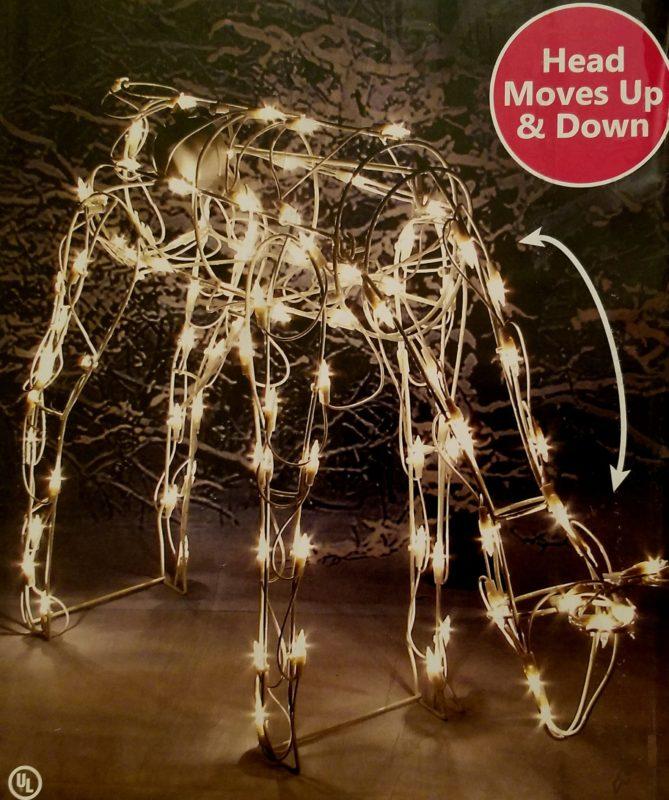 Pre lit feeding doe yard art animated lighted reindeer for Animated lighted reindeer christmas decoration