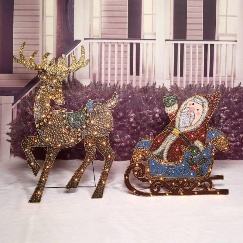 hammered metal look reindeer and sleigh lighted. Black Bedroom Furniture Sets. Home Design Ideas