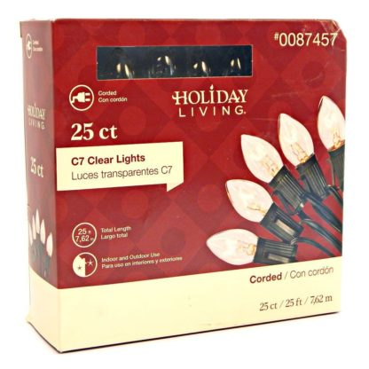 Holiday Living 25 count C7 Clear Lights