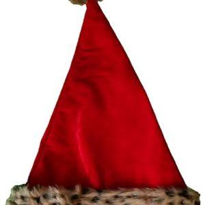 Animal Print Santa Hat, Red Velvet Faux Leopard Fur