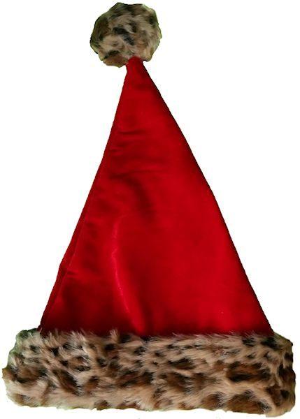 4b47ae241605c Wild Red Velvet   Animal Print Santa Hat
