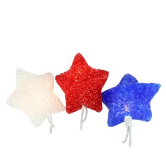 Patriotic Curtain Lights, Red, White and Blue Stars