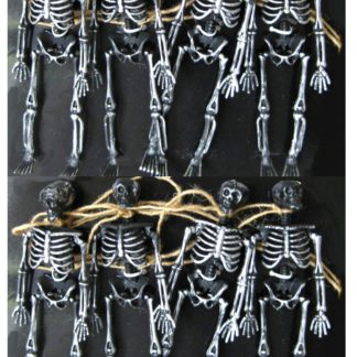 Dangling Skeleton Halloween Garland, Black/Silver