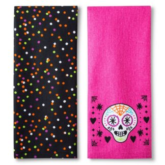 Weavetex Pink Sugar Skull Halloween Kitchen Towels, 2 Pack