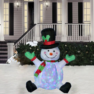 4 Ft Inflatable Snowman Spinning Flashing Light