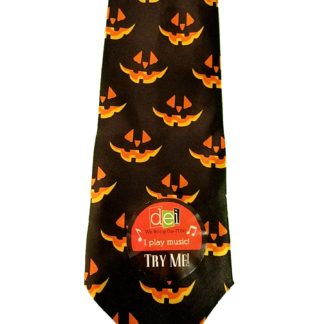 Musical Halloween Necktie, Pumpkin Pattern Tie