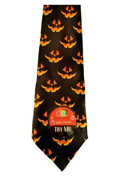 Musical Halloween Necktie, Pumpkin Pattern Tie