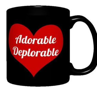 Adorable Deplorable Mug, Black with Red Heart Design