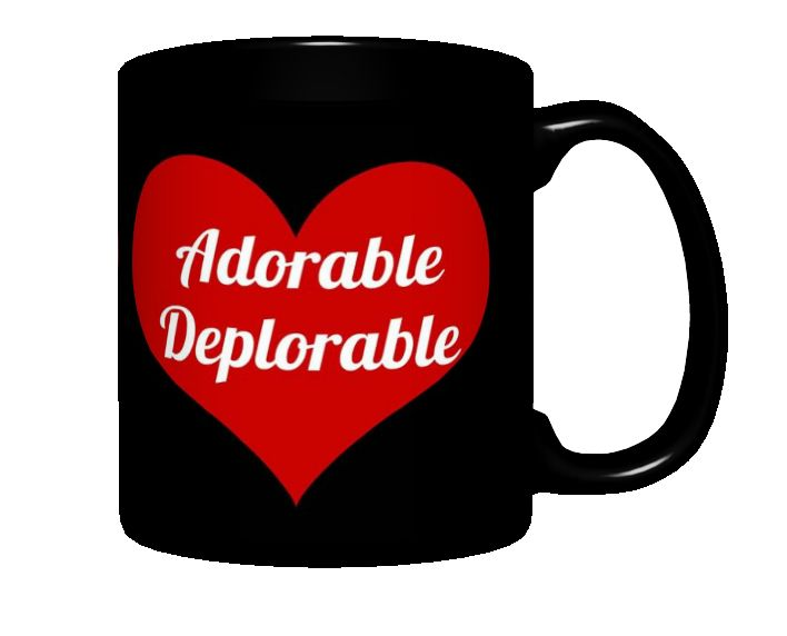Adorable Deplorable Mug, Black with Red Heart Design