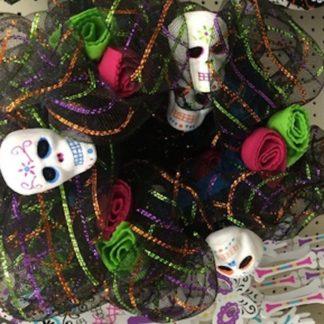 Day of the Dead Sugar Skull Wreath Black/Multi Poly Mesh