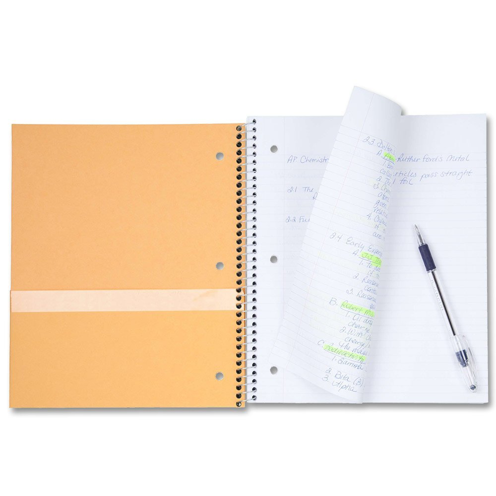Details about Five Star Spiral Notebook 1-Subject 100 PG Wide Rule, Black,  Navy