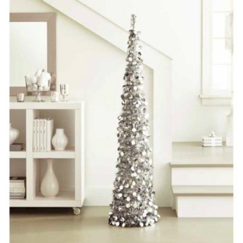 Giant 5 Ft Collapsible Tinsel Tree Pop Up Slim Decorative
