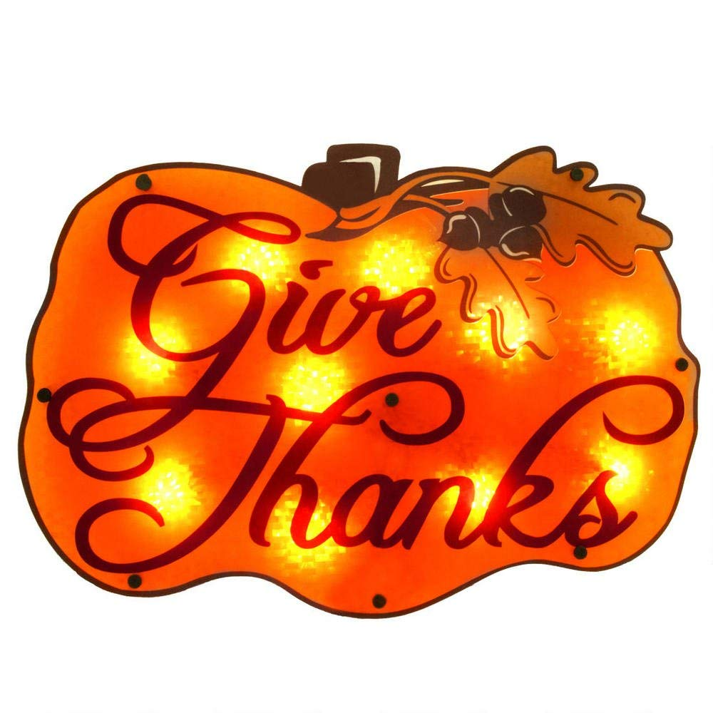 "lighted harvest pumpkin ""Give Thanks"""