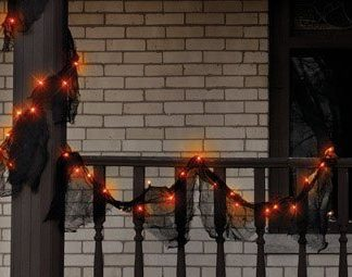 Lighted Halloween Gauze Garland, Orange