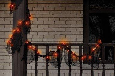 Lighted Halloween Gauze Garland, Orange