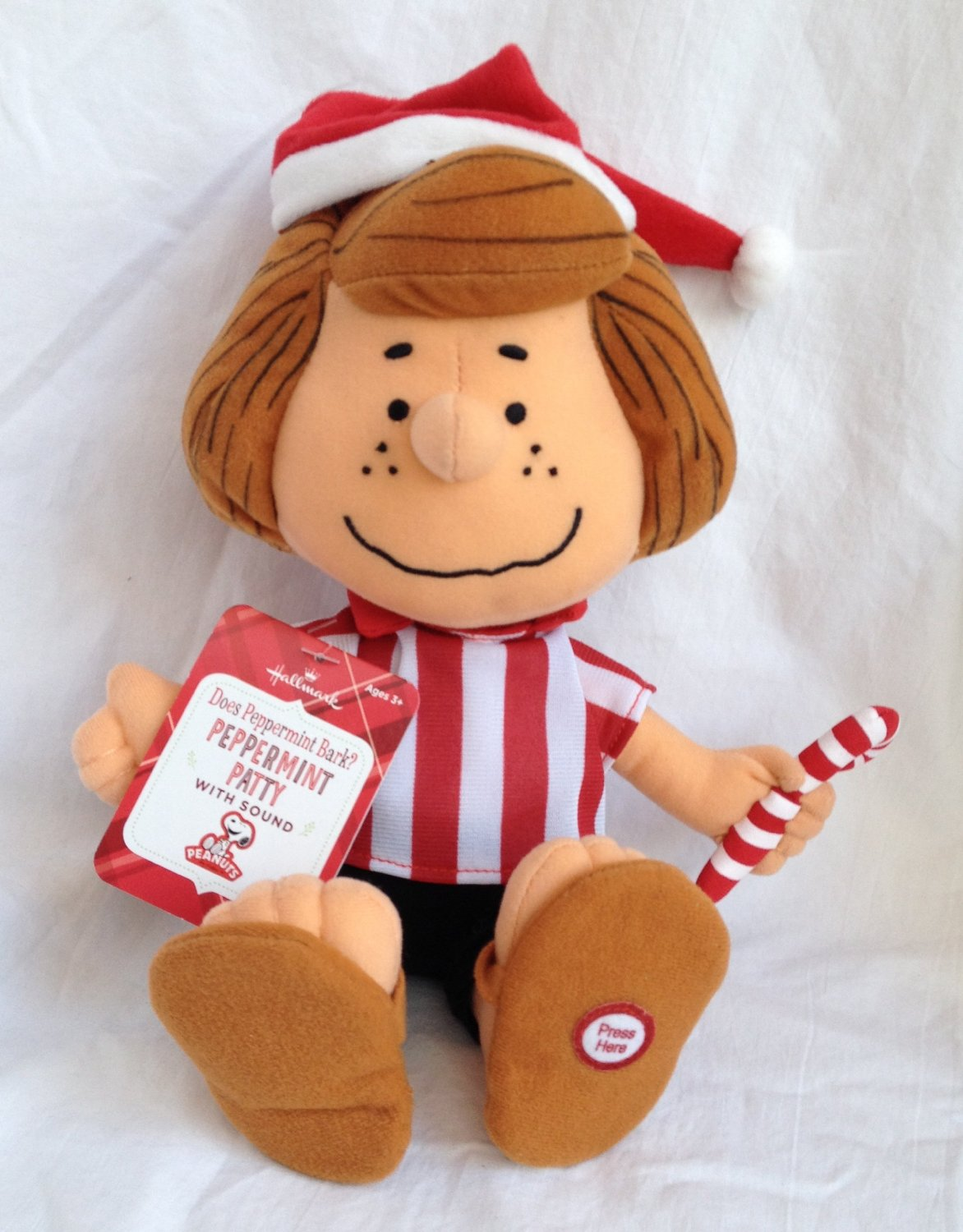 peanuts peppermint patty with sound 9 plush christmas doll