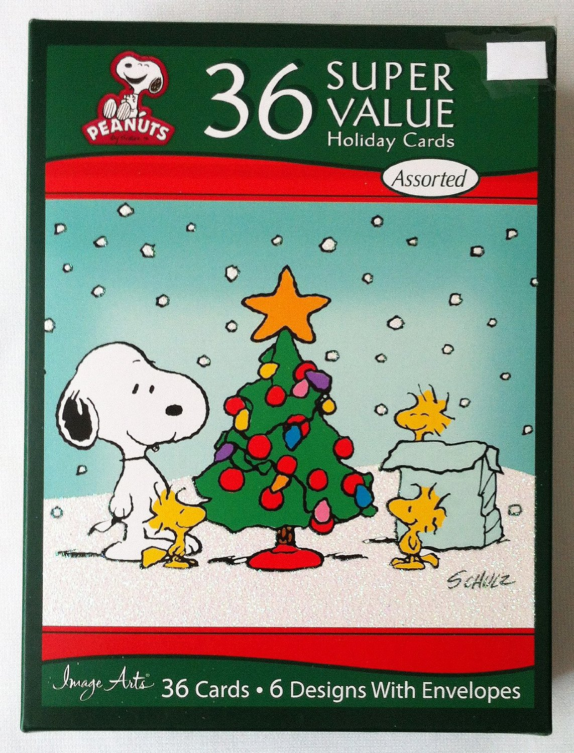Peanuts Snoopy Set 36 Christmas Cards & Envelopes with Glitter Snow ...