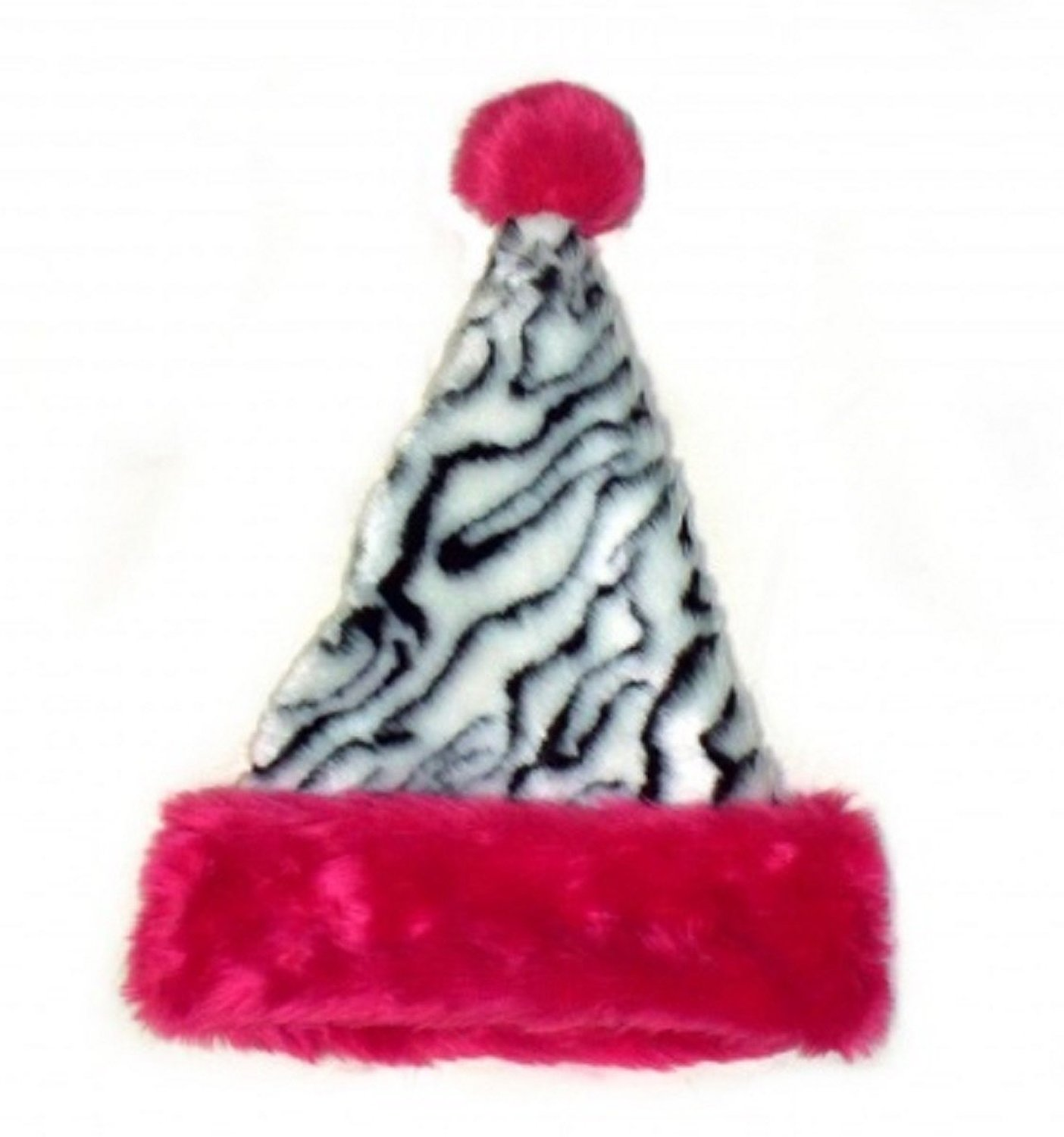 9c5eb109d465a Zebra   white tiger Animal Print Faux Fur Santa Hat with pink trim ...